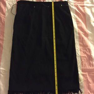Dresses & Skirts - Pencil skirt fringe suede like black skirt